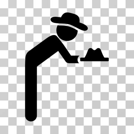 pauper: Gentleman Servant icon. Vector illustration style is flat iconic symbol, black color, transparent background. Designed for web and software interfaces. Illustration