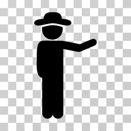 general manager: Gentleman Show icon. Vector illustration style is flat iconic symbol, black color, transparent background. Designed for web and software interfaces.
