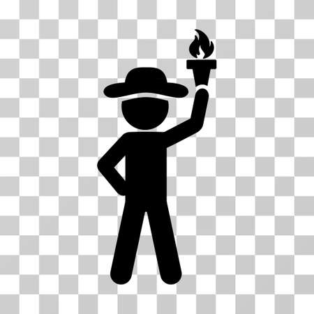 Gentleman With Freedom Torch icon. Vector illustration style is flat iconic symbol, black color, transparent background. Designed for web and software interfaces. Illustration