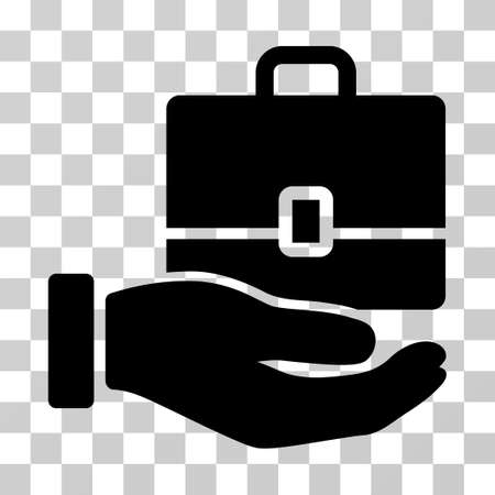 Hand Holding Case icon. Vector illustration style is flat iconic symbol, black color, transparent background. Designed for web and software interfaces. Illustration