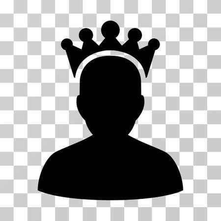 czar: King icon. Vector illustration style is flat iconic symbol, black color, transparent background. Designed for web and software interfaces.