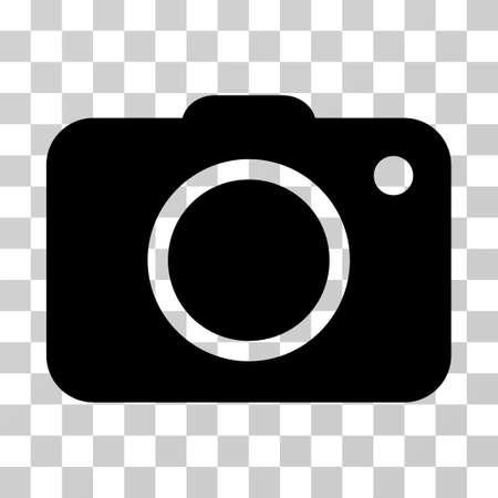 Icono de la cámara de fotos. El estilo del ejemplo del vector es símbolo icónico plano, color negro, fondo transparente. Diseñado para interfaces web y de software.