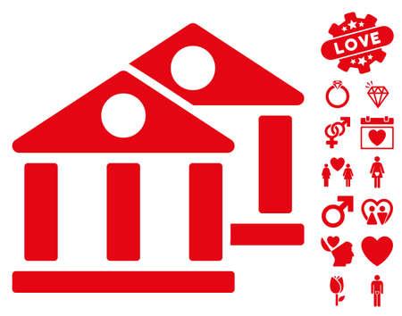 Banks icon with bonus lovely design elements. Vector illustration style is flat iconic red symbols on white background.
