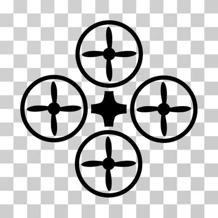 Quadcopter icon. Vector illustration style is flat iconic symbol, black color, transparent background. Designed for web and software interfaces.