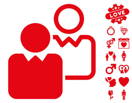 Clients icon with bonus valentine symbols. Vector illustration style is flat iconic red symbols on white background.