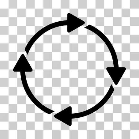Ícono de rotación El estilo del ejemplo del vector es símbolo icónico plano, color negro, fondo transparente. Diseñado para interfaces web y de software.
