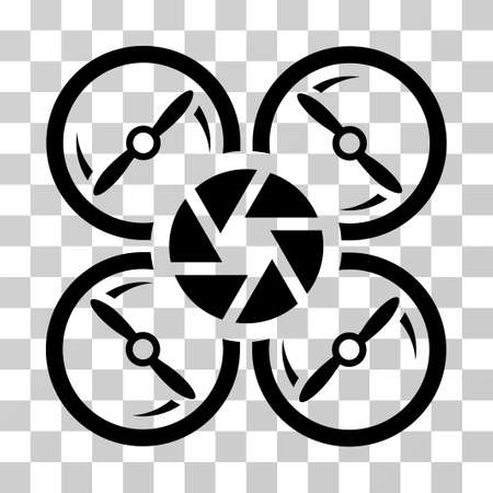Shutter Drone icon. Vector illustration style is flat iconic symbol, black color, transparent background. Designed for web and software interfaces.