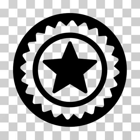Star Medal Seal icon. Vector illustration style is flat iconic symbol, black color, transparent background. Designed for web and software interfaces.