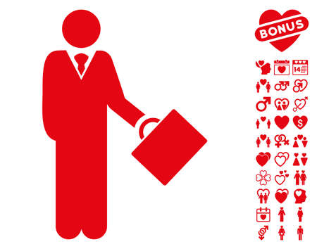 moneymaker: Businessman pictograph with bonus decorative graphic icons. Vector illustration style is flat iconic red symbols on white background.