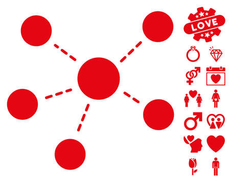 Connections pictograph with bonus love graphic icons. Vector illustration style is flat iconic red symbols on white background.