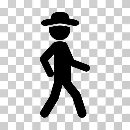 Walking Gentleman icon. Vector illustration style is flat iconic symbol, black color, transparent background. Designed for web and software interfaces.