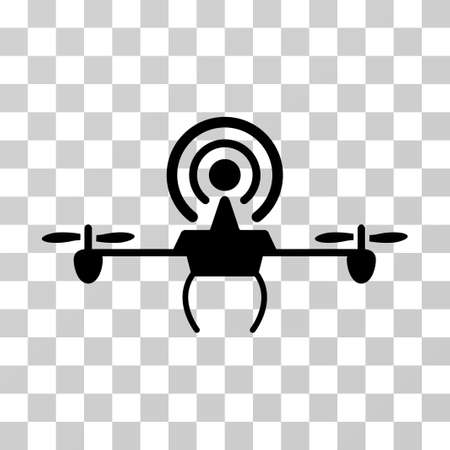 Wifi Repeater Drone icon. Vector illustration style is flat iconic symbol, black color, transparent background. Designed for web and software interfaces.