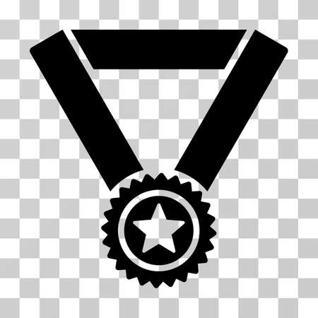 Winner Medal icon. Vector illustration style is flat iconic symbol, black color, transparent background. Designed for web and software interfaces.