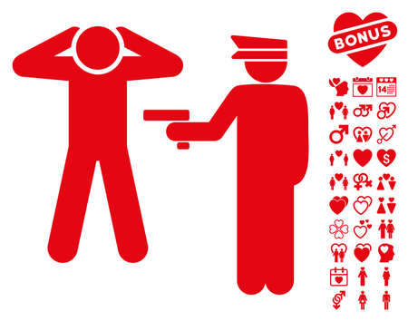 Arrest pictograph with bonus love pictures. Vector illustration style is flat iconic red symbols on white background. Illustration