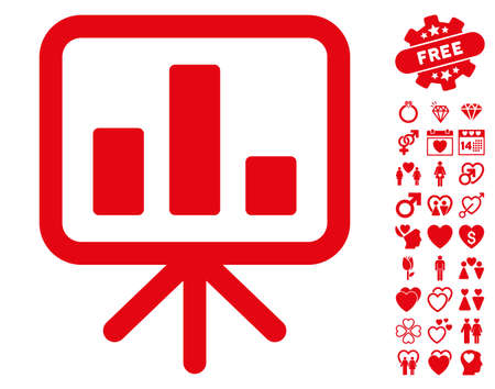 indicator board: Bar Chart Display pictograph with bonus marriage symbols. Vector illustration style is flat iconic red symbols on white background. Illustration