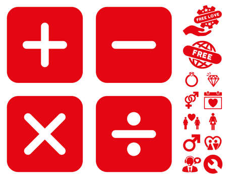 adder: Calculator pictograph with bonus marriage pictures. Vector illustration style is flat iconic red symbols on white background. Illustration
