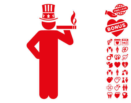 Capitalist pictograph with bonus lovely pictures. Vector illustration style is flat iconic red symbols on white background. Illustration