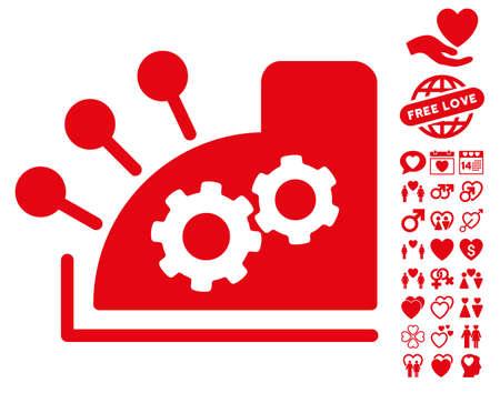 Cash Register pictograph with bonus valentine icon set. Vector illustration style is flat iconic red symbols on white background.