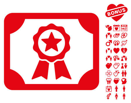 Certificate icon with bonus amour graphic icons. Vector illustration style is flat iconic red symbols on white background. Illustration