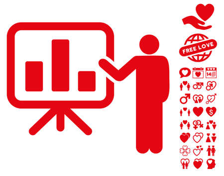 dating strategy: Presentation pictograph with bonus decoration design elements. Vector illustration style is flat iconic red symbols on white background.