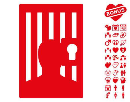 prisoner of love: Prison Door pictograph with bonus decoration symbols. Vector illustration style is flat iconic red symbols on white background.