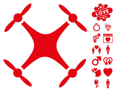 Quadcopter icon with bonus love pictograms. Vector illustration style is flat iconic red symbols on white background.