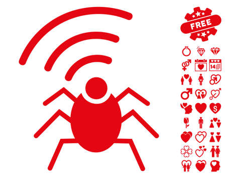fbi: Radio Spy Bug icon with bonus decoration design elements. Vector illustration style is flat iconic red symbols on white background.