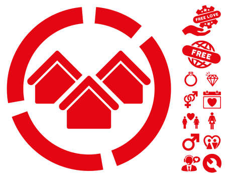 Realty Diagram pictograph with bonus decorative images. Vector illustration style is flat iconic red symbols on white background. Illustration