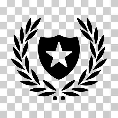 best security: Shield Laurel Wreath icon. Vector illustration style is flat iconic symbol, black color, transparent background. Designed for web and software interfaces.