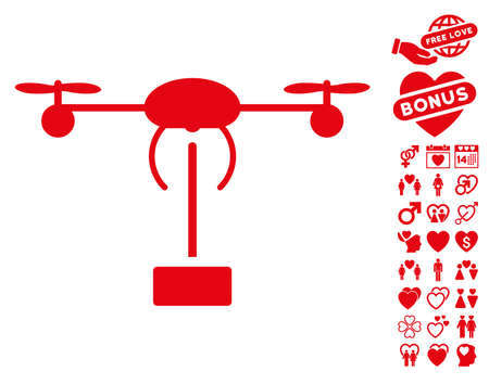 Copter Shipment pictograph with bonus passion icon set. Vector illustration style is flat iconic red symbols on white background.