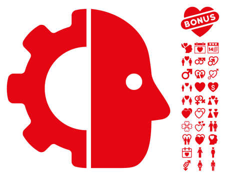 Cyborg pictograph with bonus valentine images. Vector illustration style is flat iconic red symbols on white background.