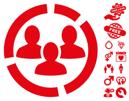 Demography Diagram icon with bonus lovely pictograph collection. Vector illustration style is flat iconic red symbols on white background. Illustration