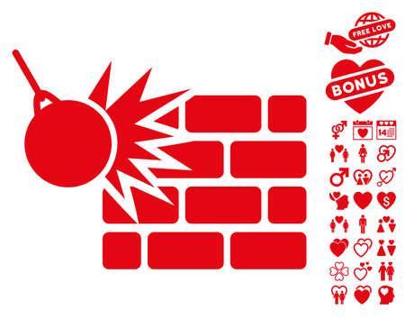 Destruction pictograph with bonus valentine symbols. Vector illustration style is flat iconic red symbols on white background. Illustration