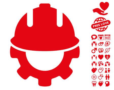 Development pictograph with bonus valentine symbols. Vector illustration style is flat iconic red symbols on white background. Illustration