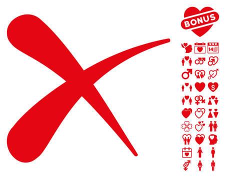 Erase icon with bonus lovely icon set. Vector illustration style is flat iconic red symbols on white background.