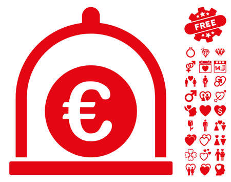 Euro Standard pictograph with bonus love clip art. Vector illustration style is flat iconic red symbols on white background. Illustration