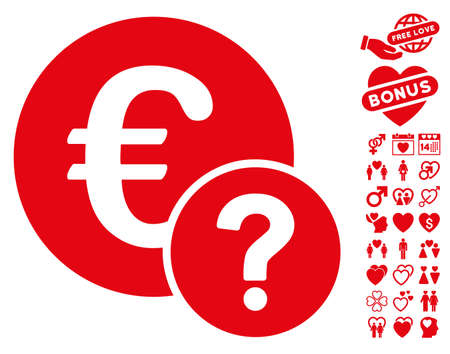 Euro Status icon with bonus decorative pictures. Vector illustration style is flat iconic red symbols on white background.