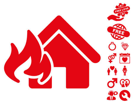 Fire Damage icon with bonus dating clip art. Vector illustration style is flat iconic red symbols on white background.