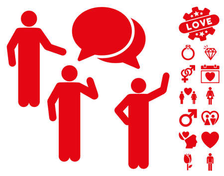 Forum icon with bonus romantic images. Vector illustration style is flat iconic red symbols on white background. Illustration