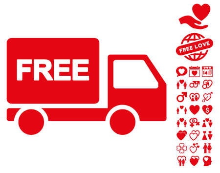 Free Delivery icon with bonus passion icon set. Vector illustration style is flat iconic red symbols on white background. Illustration