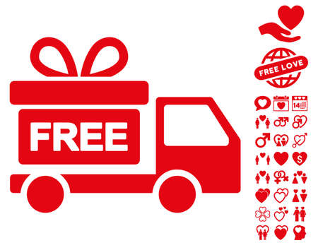 Gift Delivery icon with bonus passion pictures. Vector illustration style is flat iconic red symbols on white background. Illustration