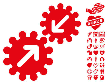 Integration Gears icon with bonus valentine icon set. Vector illustration style is flat iconic red symbols on white background.