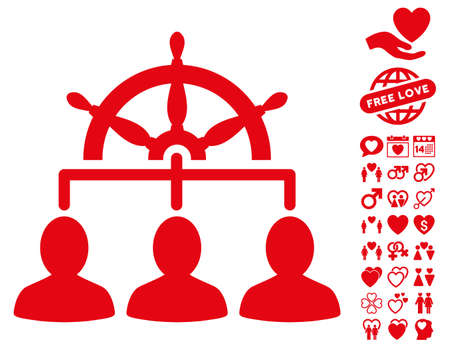 Management Steering Wheel icon with bonus marriage design elements. Vector illustration style is flat iconic red symbols on white background.