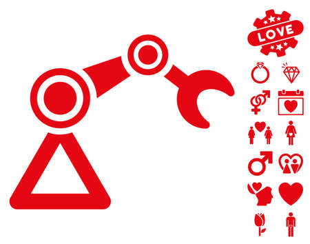 Manipulator Equipment pictograph with bonus valentine symbols. Vector illustration style is flat iconic red symbols on white background.