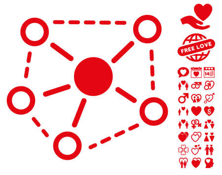Molecule Links icon with bonus passion icon set. Vector illustration style is flat iconic red symbols on white background.