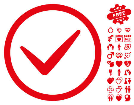 Ok pictograph with bonus decoration graphic icons. Vector illustration style is flat iconic red symbols on white background.