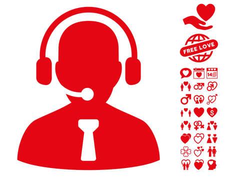 pictograph Opérateur de réception avec prime amour images. Vector illustration style est plat symboles rouges iconiques sur fond blanc.