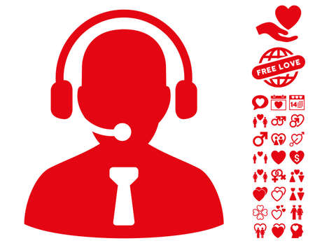 Reception Operator pictograph with bonus amour pictures. Vector illustration style is flat iconic red symbols on white background.
