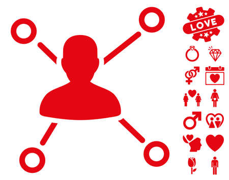 Relations pictograph with bonus amour symbols. Vector illustration style is flat iconic red symbols on white background.