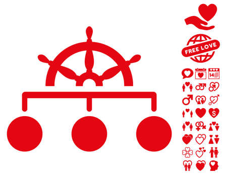 Rule pictograph with bonus decoration clip art. Vector illustration style is flat iconic red symbols on white background. Illustration